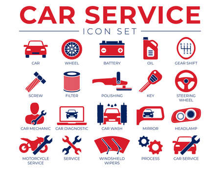 Red Blue Car Service Icons Set with Battery, Oil, Gear Shifter, Filter, Polishing, Key, Steering Wheel, Diagnostic, Wash, Mirror, Headlamp Icons