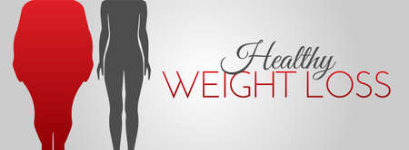 Healthy Weight Loss Background Illustration with Women Silhouette