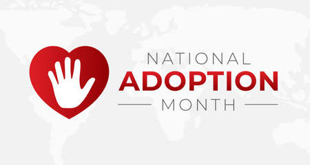 National Adoption Month Background Illustration with Heart
