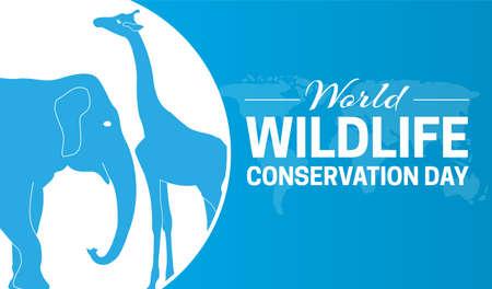 World Wildlife Conservation Day Blue Background Illustration