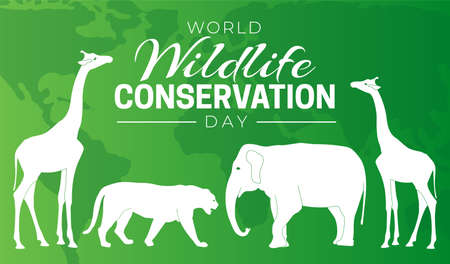 World Wildlife Conservation Day  Background Illustration with Elephant, Giraffe and Tiger Stock Illustratie