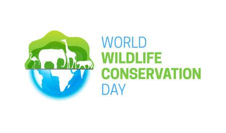 World Wildlife Conservation Day  Isolated Logo Icon with Globe