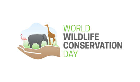 World Wildlife Conservation Day  Isolated Logo Icon with Hand
