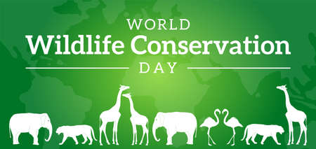 World Wildlife Conservation Day Green Background with Animals
