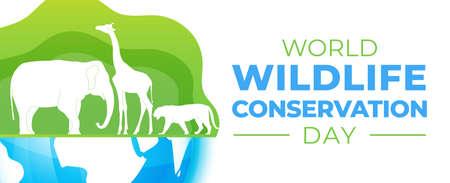 World Wildlife Conservation Day  Banner Illustration Stock Illustratie