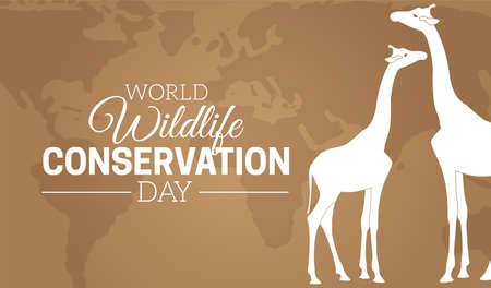 World Wildlife Conservation Day  Background Illustration with Giraffes