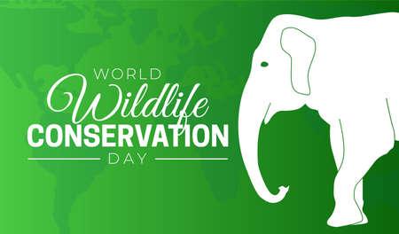 World Wildlife Conservation Day  Background Illustration with Elephant Stock Illustratie