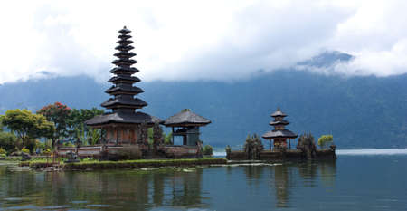 Lake Bratan, high up in the central mountains of Bali, is famous for its lakeside temple photo