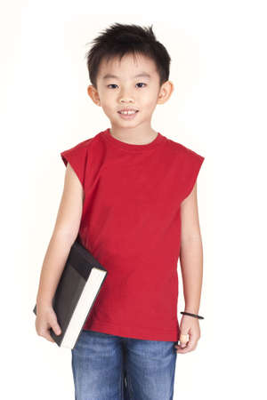 asian boy: Chinese boy holding a book