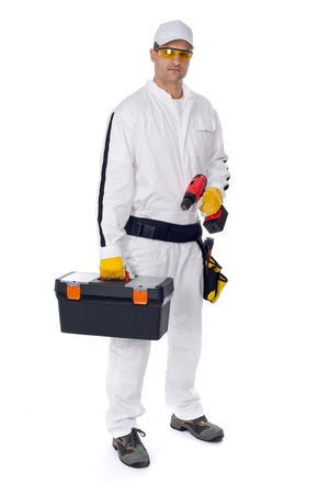 construction worker in white coveralls with a tool box on a white background