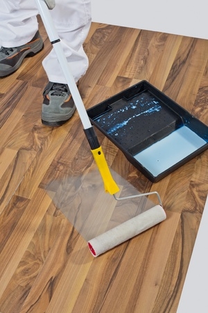 painting with primer wooden floor for waterproofing