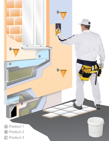 gypsum: Construction worker with trowel applied plaster on virtual 3D wall Stock Photo