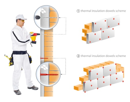 Construction worker in white overalls show in 3D sheme how to install insulation of house walls photo