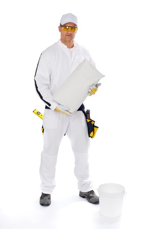 construction worker in white coveralls  Stock Photo