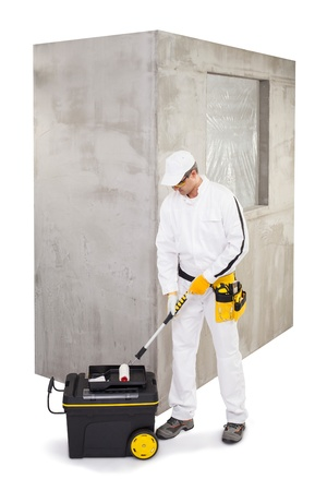 Worker preparing for priming