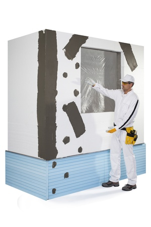 Worker presenting a reinforced window frame Stock Photo