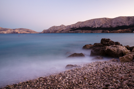krk: Smooth and soft water at the coast of Krk island in evening light