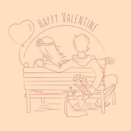 Valentine in the sunset beach Illustration