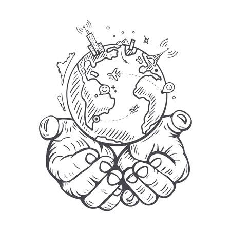 mani terra: Darsi la mano Terra Vettoriali