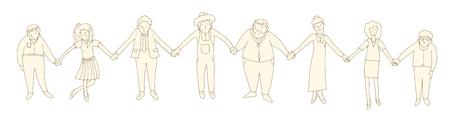 3 holding hands Illustration