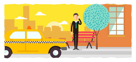 hailing: poster design template Businessman calling a taxi with his mobile phone