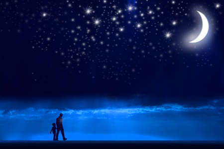 starlit sky: father and son are walking at night