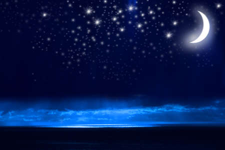 Night Sky, Bright Stars, Galaxy, and Moon