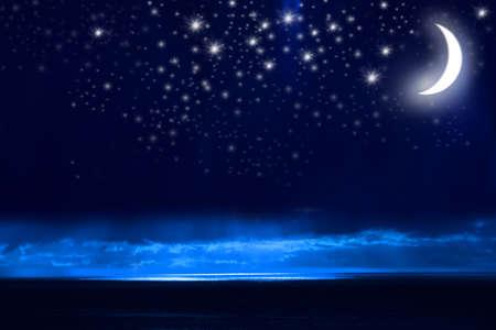 Night Sky, Bright Stars, Galaxy, and Moon photo