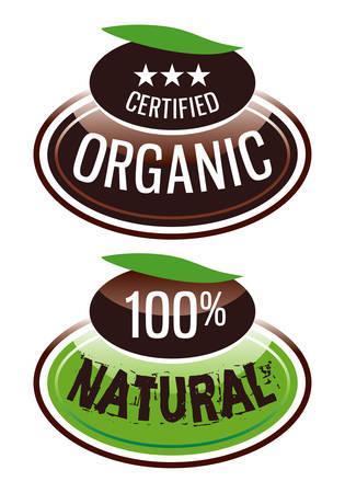 productos naturales: etiquetar productos org�nicos y naturales Vectores