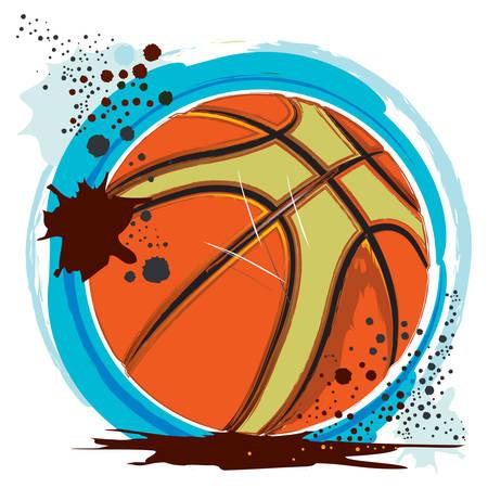 Basketball illustration on white background.