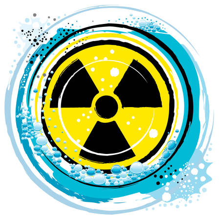 pollutants: in the radiation symbol on the ocean waves