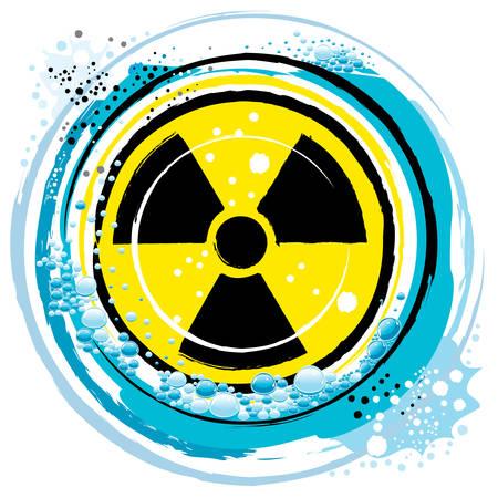 plutonium: in the radiation symbol on the ocean waves