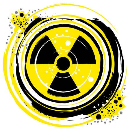 plutonium: waves of radiation in the radioactive symbol Illustration