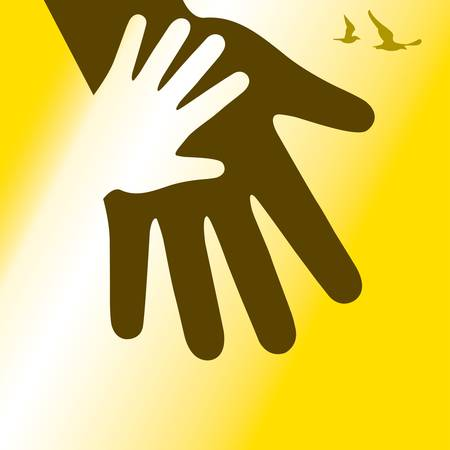 silhouette of a hand of adults and children. vector Illustration
