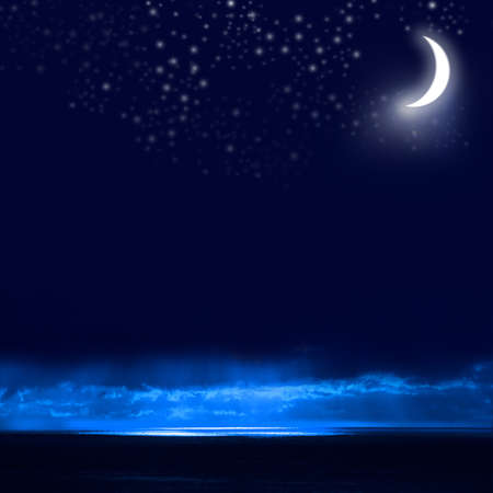 Night Sky, Bright Stars, Galaxy, and Moon Stock Photo - 9630411