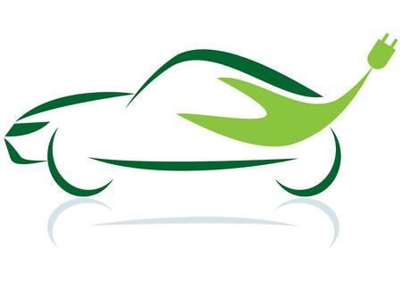 El símbolo del coche verde sobre fondo blanco