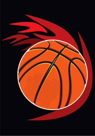 basketball ball and flame on the black background