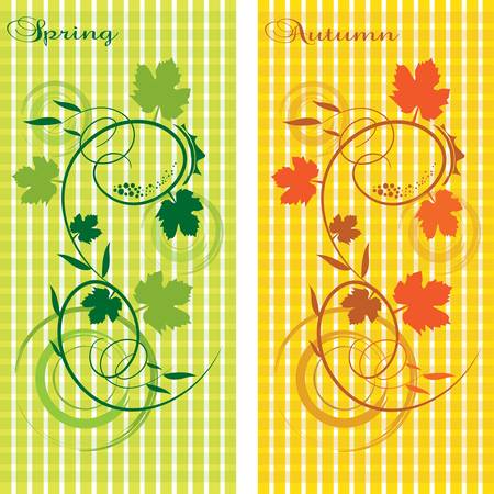 vector, stylized two seasons, Spring and Autumn