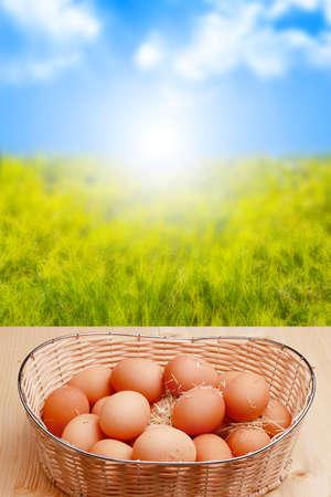 easter sunrise: fresh eggs and sunrise in the background