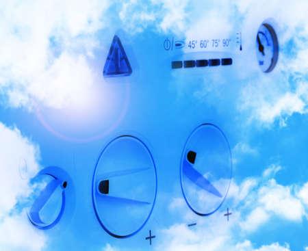 gas boiler:  Gas boiler panel on a blue background.
