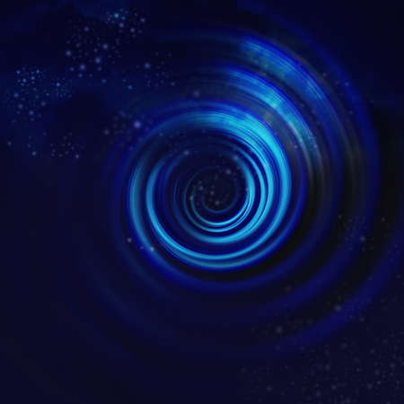 Blue Spiral Vortex with Stars  On black background