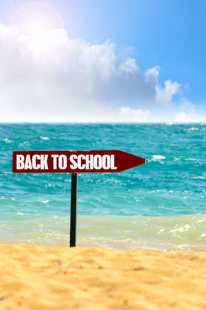 school year:  a blackboard with the sentence summers end written in it on the beach Stock Photo