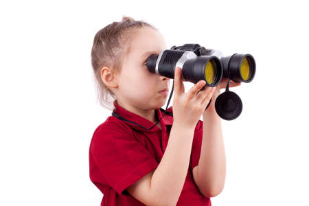 Little Girl Looking Through Binoculars photo