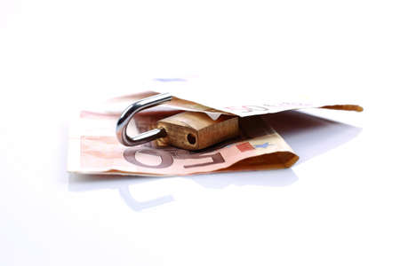 saved: Euro banknotes saved by a lock. Stock Photo