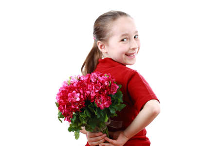 mother's day: Smiling Cute girl holding a bouquet.