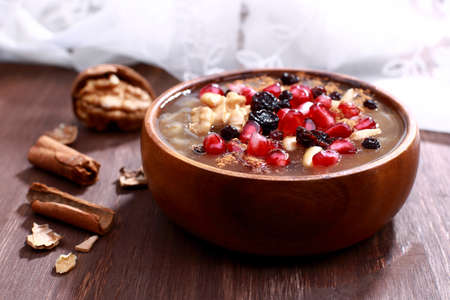 Noah's Pudding is a Turkish dessert that is made of a mixture consisting of grains.