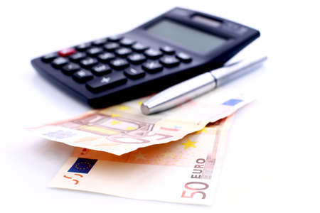 credit union: EURO currency with financial calculator