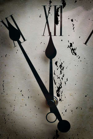 12 o'clock: 5 to 12 clock concept old background Stock Photo