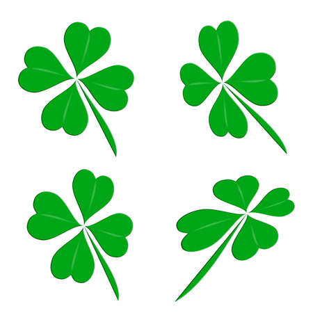 three leaved: Four leaf clover group on a white background