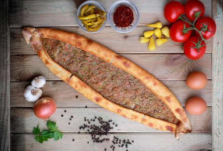 Meat pita, traditional Turkish food Stock Photo